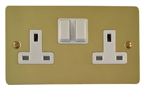 G&H FB10W Flat Plate Polished Brass 2 Gang Double 13A Switched Plug Socket